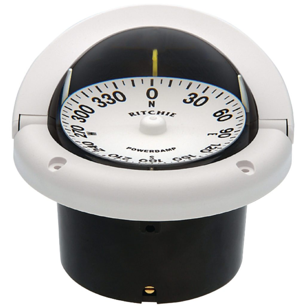 Ritchie Helmsman White Flat Dial Boat Compass