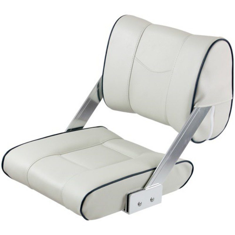 Flip-back seat cream white with blue piping